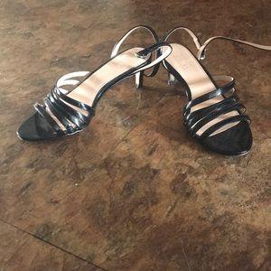 Strappy black kitten heels